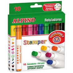 Фломастеры Stamper со штампами с утолщенным корпусом, 10 цв. Alpino