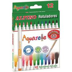 Фломастеры Aquarelle», 12 цв. + кисточка Alpino