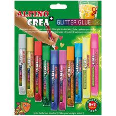 Гелевые карандаши CREA Classic&Neon (гель-краски с блестками для декорирования), 8 Classic + 2 Neon = 10 цв. Alpino