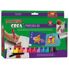 Гелевые карандаши CREA 3D (гель-краски для объемного декорирования), 12 цв. Alpino