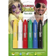 """Детский аквагрим """"Face Stick"""" (макияжные карандаши), 6*5 гр, 6 цв. Alpino"""