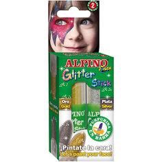 """Детский аквагрим """"Glitter Stick"""" (макияжные карандаши с блестками), 2*4 гр, 2 цв. (золотой/серебряный) Alpino"""