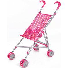 Коляска-трость для кукол, розовая в горошек,Melobo