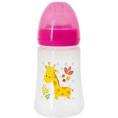 Бутылочка с силиконовой соской Жираф, 250 мл., Kurnosiki, розовый Курносики