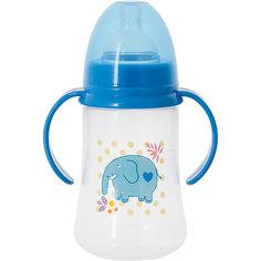 Бутылочка для кормления с ручками и силиконовой соской Слон, 250 мл, Kurnosiki, синий Курносики