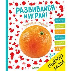 """Тетрадка оранжевая с наклейками """"Развивайся и играй!"""", Clever"""