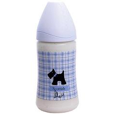 "Бутылочка 270мл ""SCOTTISH""от 0-6 мес.,Suavinex,бледно-голубой /черная собачка"