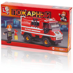 """Конструктор """"Пожарный: Пожарная машина с лестницей"""", 133 детали, Sluban"""