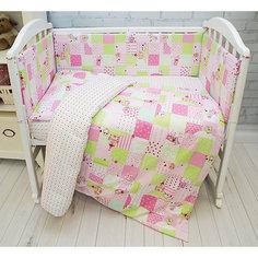 Борт в кроватку Совы Baby Nice, розовые