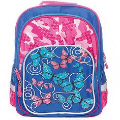 Рюкзак с тремя отделениями Junior Prime Бабочки-цветочки, ортопедическая спинка Limpopo