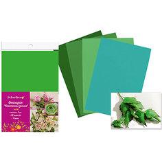 Набор фоамирана, 10листов, 1мм, А4, 5 цветов в ассортименте, зеленая палитра Schreiber