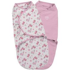 Конверт на липучке Swaddleme, размер S/M, 2шт., Summer Infant, розовый/птички