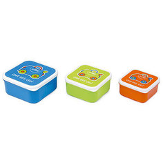 Контейнеры для еды 3 шт, голубой, оранжевый, зеленый Trunki