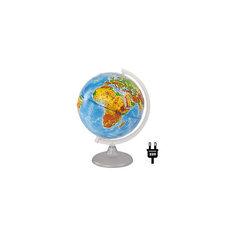 Глобус Земли физический рельефный с подсветкой, диаметр 250 мм Глобусный Мир