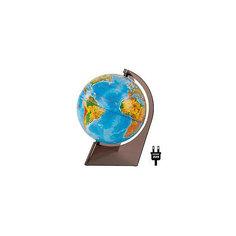 Глобус Земли физический на треугольнике с подсветкой, диаметр 210 мм Глобусный Мир
