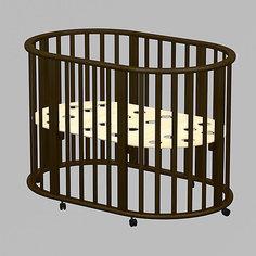 Кроватка овальная Оливия 3 в 1, Ведрусс, венге