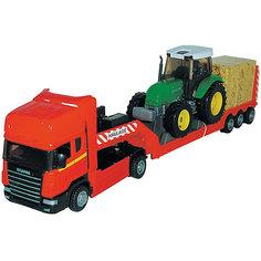 """Машинка """"Scania"""" с трактором 1:48, Autotime"""