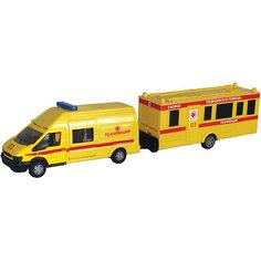 "Машинка ""Rescue Van"" скорая помощь с прицепом 1:48, Autotime"