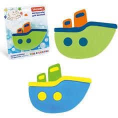 Мини-коврик для ванной Кораблики (на присосах), 6 шт., VALIANT, зелёный/голубой