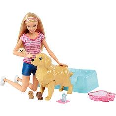 Игровой набор Barbie Кукла и собака с новорожденными щенками Mattel