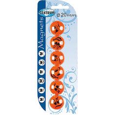 Centrum Набор магнитов для досок, 6 штук, круглые, диаметр 20 мм.
