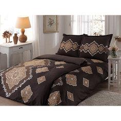 Постельное белье семейный Diane, Satin delux/пано, TAC, коричневый