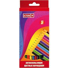 ACTION! Набор карандашей 12цв, трехгранных, антискользящих
