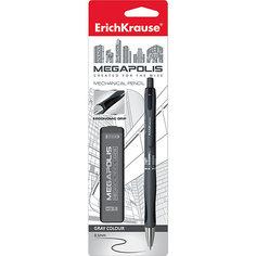 Erich Krause Карандаш механический MEGAPOLIS CONCEPT в наборе с 20 грифелями HB (в блистере), 0.5 мм