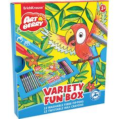 Erich Krause Набор для творчества Variety Fun box Artberry (12 фломастеров + 12 восковых мелков Twist)