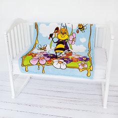 Плед- покрывало Micro Flannel, 100х118 см., Baby Nice, пчелы/голубой