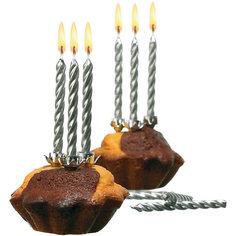 Свечи для торта, 10 шт, 10 подсвечн., серебро, парафин Herlitz