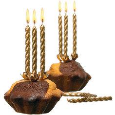 Свечи для торта, 10 шт, 10 подсвечн., золото, парафин Herlitz