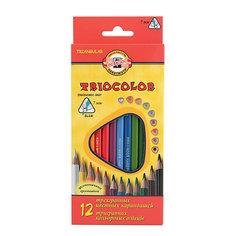 KOH-I-NOOR Набор карандашей цветных TRIOCOLOR трехгранных, 12 цв