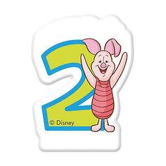 """Свечка для торта """"Цифра 2"""", Disney Винни Пух Procos"""