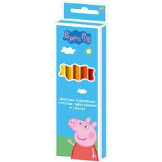 """Цветные карандаши: толстые, 6 цветов, """"Свинка Пеппа"""" Росмэн"""