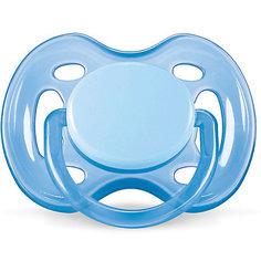Силиконовая пустышка Free Flow, 0-6 мес., AVENT, голубой