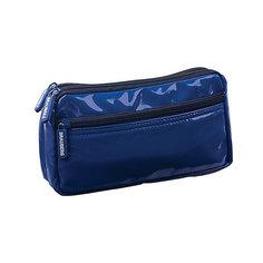 Пенал-косметичка BRAUBERG под глянц. кожу, синий, 2 отд. 1 карман, Милан, 20*10*4 см