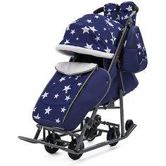 Санки-коляска ABC Academy Pikate Звезды на тёмно-серой раме, синий