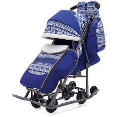 Санки-коляска ABC Academy Скандинавия на тёмно-серой раме, синий