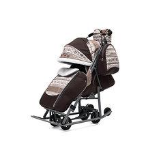 Санки-коляска ABC Academy Скандинавия на тёмно-серой раме, коричневый