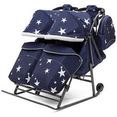 Санки-коляска для двойни ABC Academy Pikate Твин Звёзды на тёмно-серой раме, синий