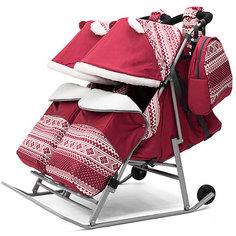 Санки-коляска для двойни ABC Academy 2В Твин Скандинавия на серой раме, бордовый
