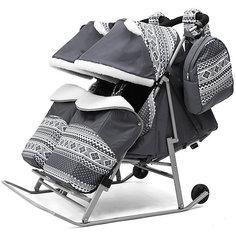 Санки-коляска для двойни ABC Academy 2В Твин Скандинавия на серой раме, серый