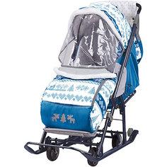Санки-коляска Ника  Нашидетки, принт скандинавcкий синий Nika