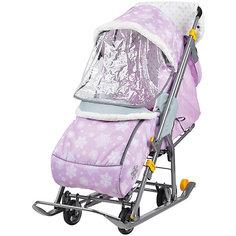 Санки-коляска Ника  Нашидетки, принт со снежинками розовый Nika