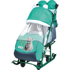 Санки-коляска Ника детям  7-2 (2017), Kitty, изумруд Nika