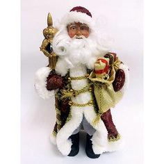 Новогодняя фигурка Дед Мороз в бордовом костюме из пластика и ткани Magic Time