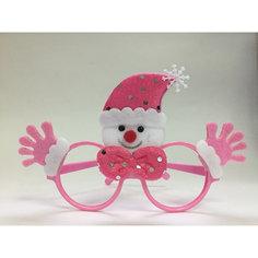 Новогодние очки Розовый Снеговик из полипропилена с декором из нетканого материала Magic Time