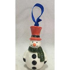 Новогоднее подвесное елочное украшение Снеговик из керамики Magic Time
