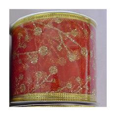 Лента новогодняя Золотые ветви арт.42803 из полиэстра на картонной катушке Magic Time
